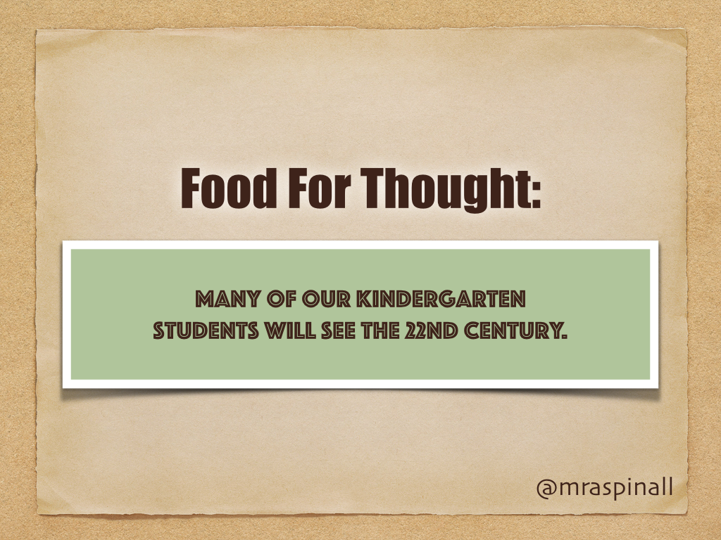 Food For Thought: Many of our JK/SK students will see the 22nd century