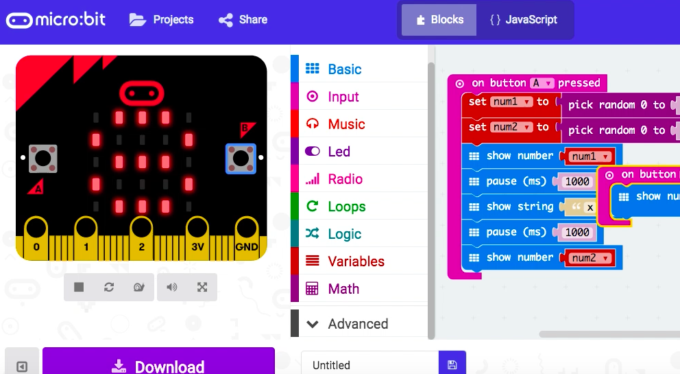 Coding to Learn: Multiplication Tables & Micro:Bit