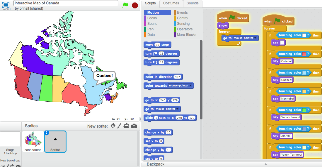 Coding an Interactive Map of Canada